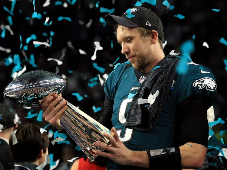Nick Foles of the Philadelphia Eagles celebrates with the Lombardi Trophy