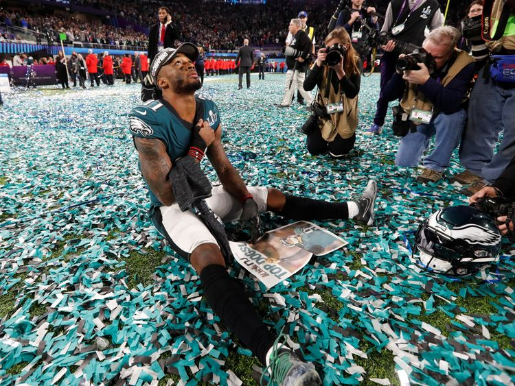 Eagles' Jalen Mills celebrates after winning the Super Bowl