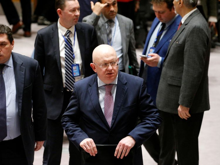 Russian ambassador to the UN Vasily Nebenzya exits after the vote on the ceasefire was postponed