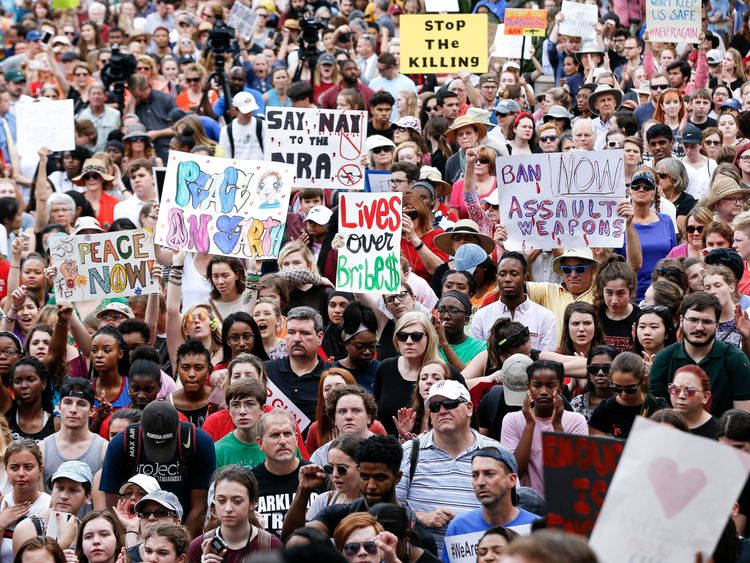 Thousands march in in Tallahassee, Florida, calling for tighter gun control