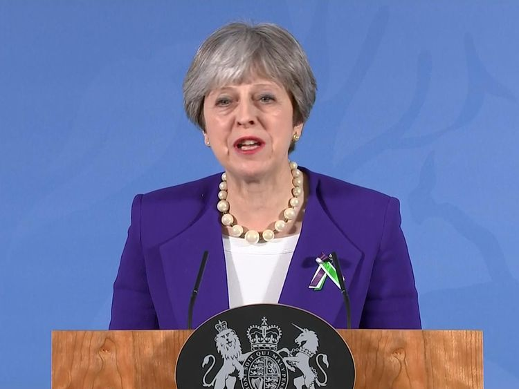 Theresa May speaks in Manchester