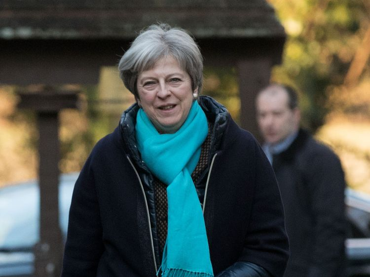 Prime Minister Theresa May arrives to attend a church service near her Maidenhead constituency.