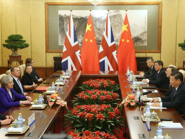 Chinese President Xi Jinping meets with Theresa May at the Diaoyutai State Guesthouse in Beijing
