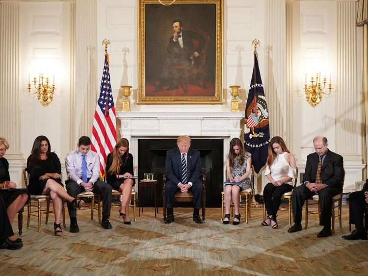 Donald Trump meeting with shooting survivors at the White House