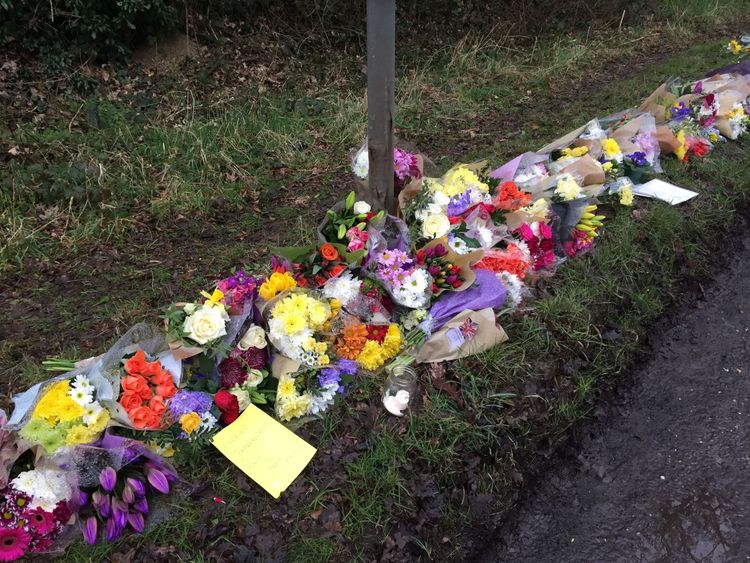 Flowers left in Barns Green, where Will Hallett lived