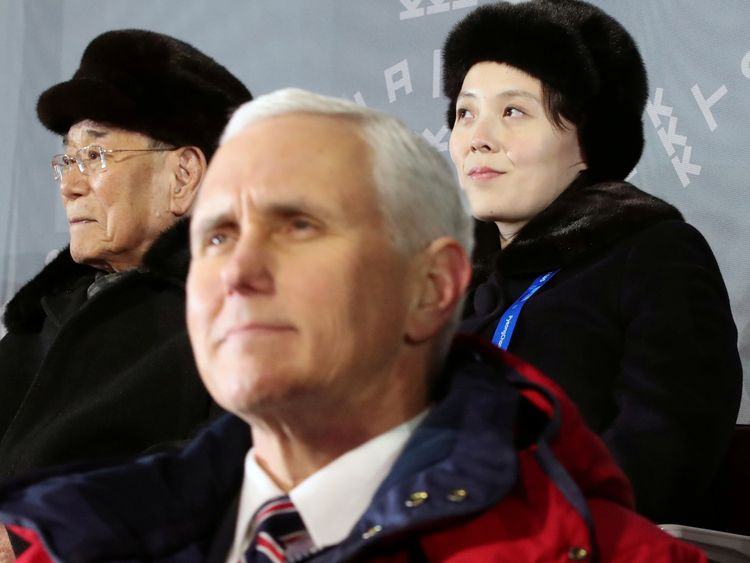 US Vice President Mike Pence did not look pleased to be sitting by Kim Jong Un's sister Kim Yo Jong at the opening ceremony