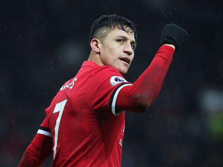 Alexis Sanchez celebrates scoring Manchester United's second goal