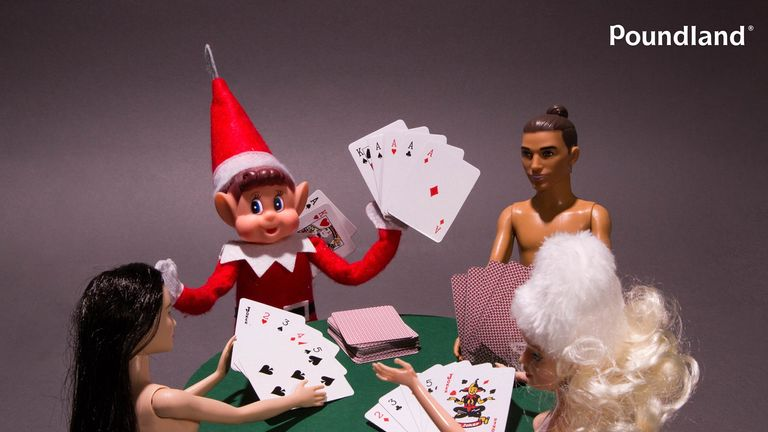 One of the controversial images from Poundland's 'Elf Behaving Badly' Christmas advertising campaign