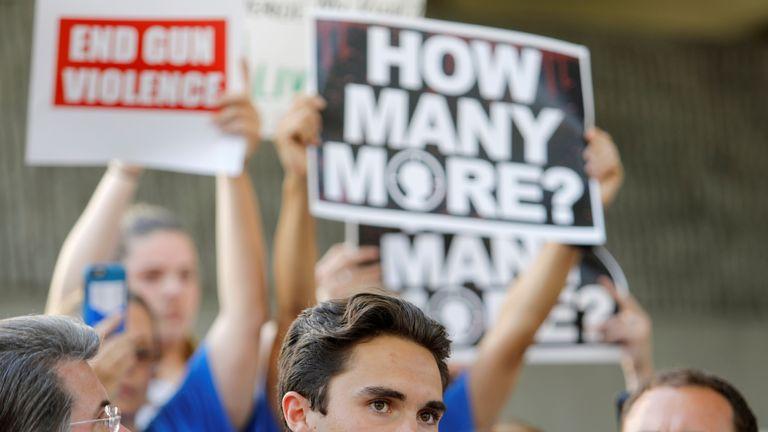 Survivor David Hogg addresses a rally calling for more gun control