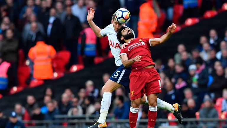 Tottenham Hotspur's Belgian defender Jan Vertonghen (L) vies with Liverpool's Egyptian midfielder Mohamed Salah during a Premier League football match