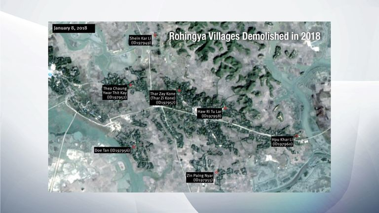 Rohingya villages January 8, 2018, according to HRM