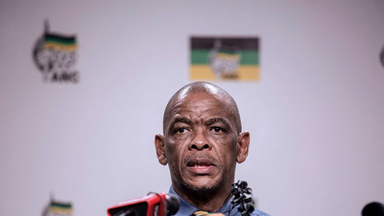 South African ruling Party African National Congress Secretary General Ace Magashule gives a press briefing on February 13, 2018 on the outcome of the ANC National Executive Committee, in Johannesburg at the African National Congress Headquarters.