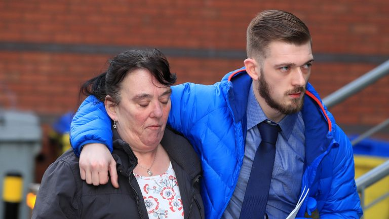 Tom Evans and his mother outside court in Liverpool