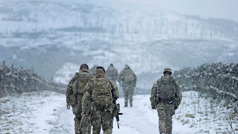 Soldiers go out on exercise near Stainmore on the Durham and Cumbria border