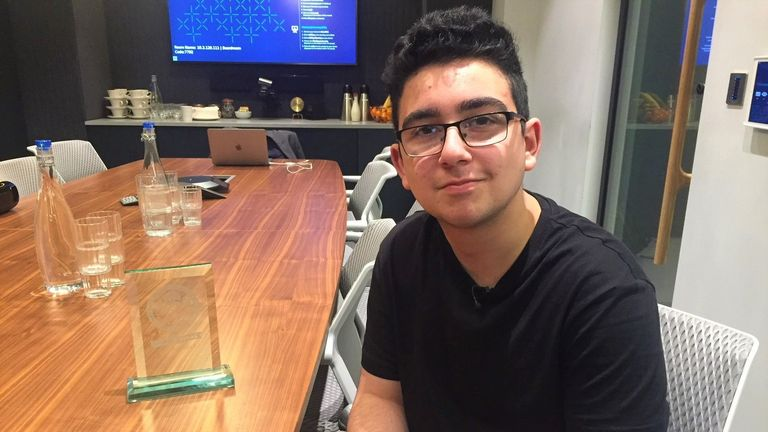 Baran Korkmaz, 14, spent seven months designing prototype application to guide people to fire exits and point our safety equipment