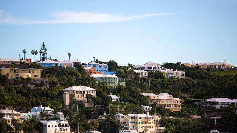 The hillside along Hamilton Harbour in Bermuda