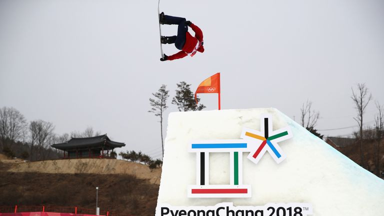 Billy Morgan takes part in the big air event in Pyeongchang