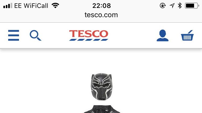 The 'Dark Panther' outfit was removed from sale