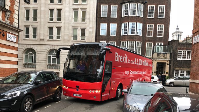 "The pro-Remain ""Is It Worth It?"" bus almost got stuck down a narrow Westminster street"