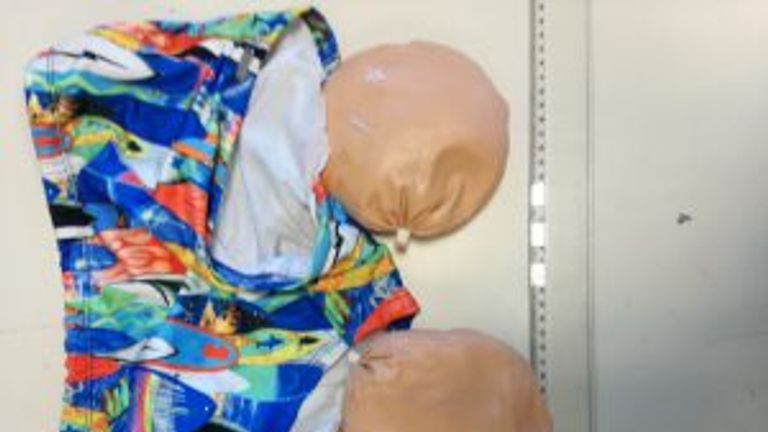 The cocaine was hidden in prosthetic buttocks, police say
