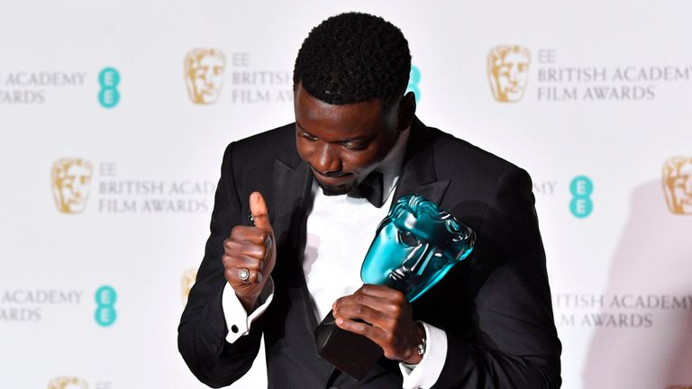 LONDON, ENGLAND - FEBRUARY 18: Actor Daniel Kaluuya, winner for the EE Rising Star award, poses in the press room during the EE British Academy Film Awards (BAFTA) held at Royal Albert Hall on February 18, 2018 in London, England. (Photo by Jeff Spicer/Jeff Spicer/Getty Images)