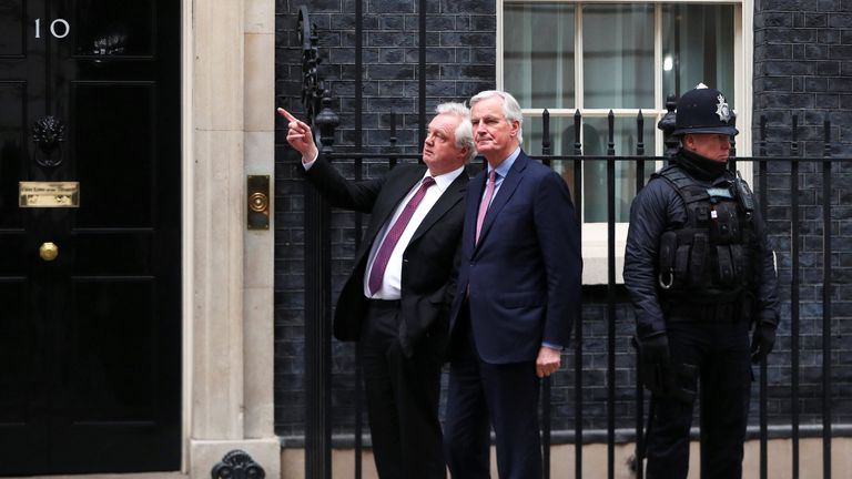David Davis welcomes the European Union's chief Brexit negotiator Michel Barnier to Downing Street