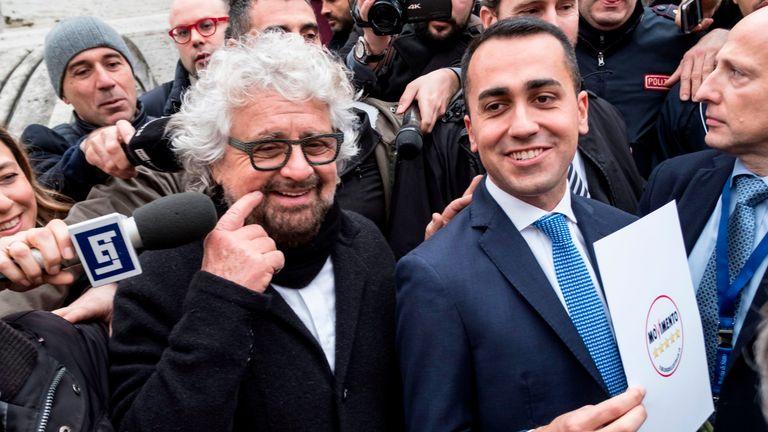 5-Star Movement leader Luigi Di Maio (R) with movement's founder Beppe Grillo