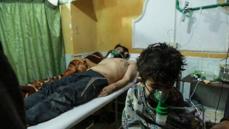 People suffering from suspected exposure to chemical compounds in eastern Ghouta