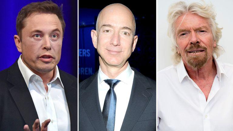 Elon Musk, Jeff Bezos and Sir Richard Branson