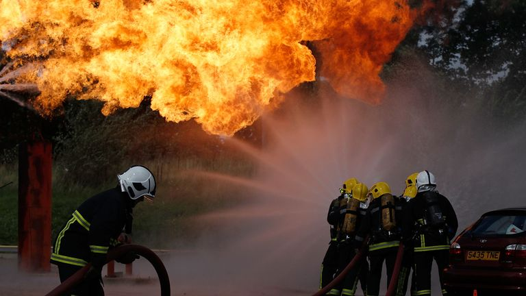Firefighters in a drill in Merseyside