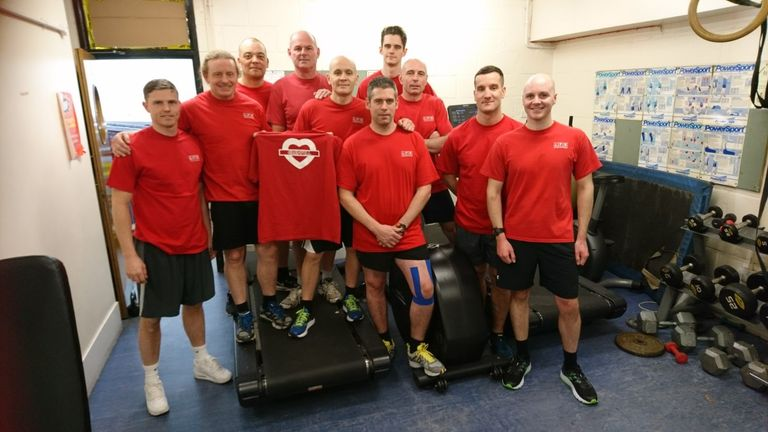 Firefighters are running the London marathon to raise money for the Grenfell Tower children