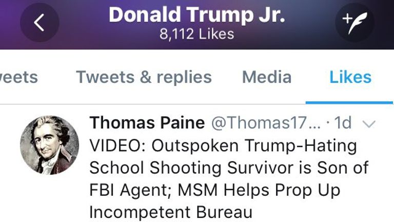 Donald Trump Jr 'liked' a tweet claiming a survivor of the Florida shooting was an actor