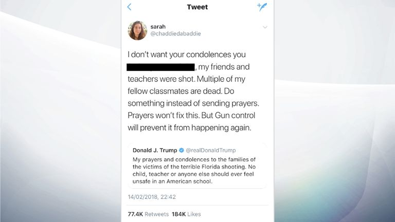 The tweet 'Sarah' sent in response to Donald Trump's message