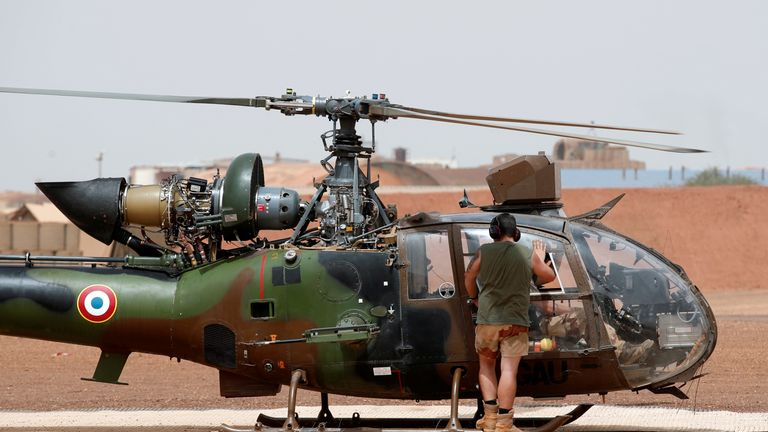 The French military use Gazelle helicopters in Mali. File pic