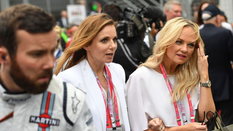 Geri Horner (L) and Emma Bunton at British Grand Prix in 2016