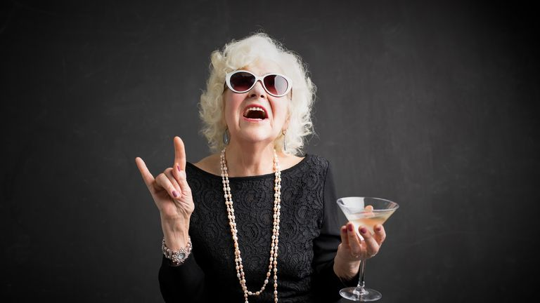 Grandmother with drink