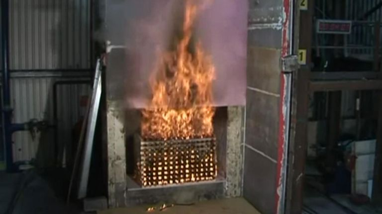 Government assurances about fire safety in tower blocks have been thrown into doubt after Sky News discovered that a previously approved cladding system has failed a fire test.