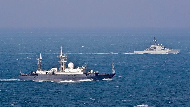 Pictured (L-R) are the Vishnya class (520) Feodor Golovin and HMS Mersey.