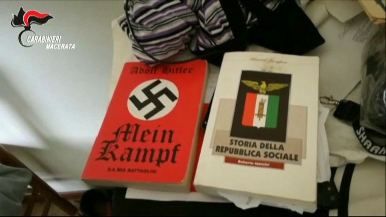 Hitler's autobiography was one of the things found by police when they searched the home of shooting suspect Luca Traini. Pic: Carabinieri