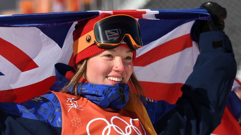 Bronze medalist, Isabel Atkin of Great Britain celebrates following the Freestyle Skiing Ladies' Ski Slopestyle final on day eight of the PyeongChang 2018 Winter Olympic Games at Phoenix Snow Park on February 17, 2018 in Pyeongchang-gun