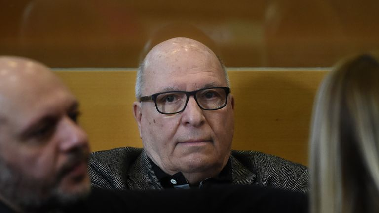 Jacques Cassandri, alleged 'brain' in the case of the 1976 spectacular burglary of the Societe Generale bank of Nice waits, on February 12, 2018 at Marseille courthouse
