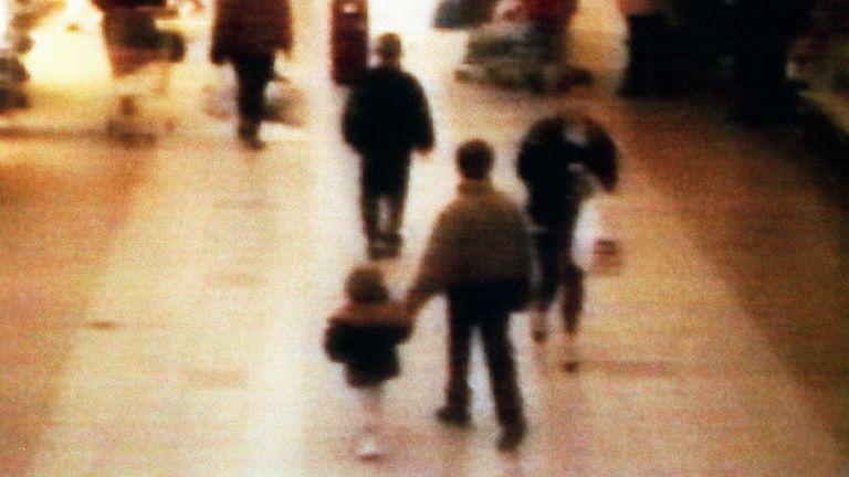 James Bugler seen on CCTV being led away before his murder