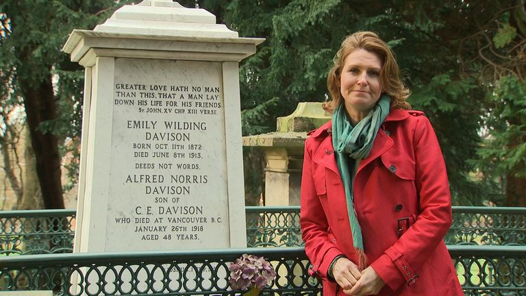 Jayne Secker at the grave of Emily Wilding Davison