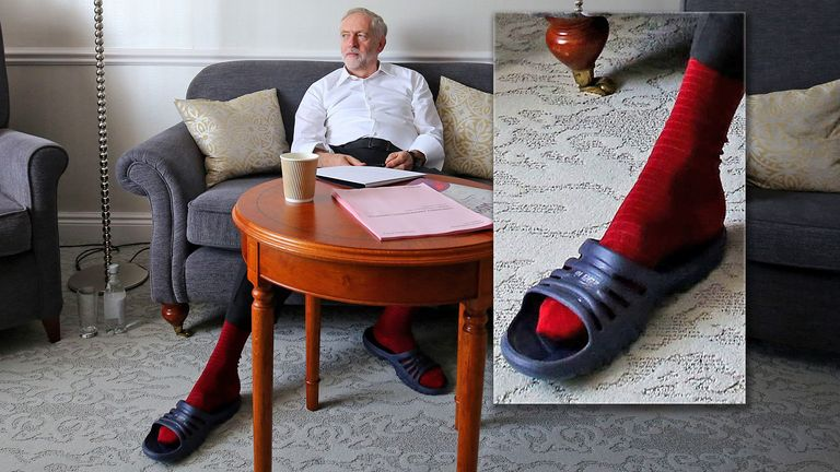 Jeremy Corbyn prepares for his first leader's speech in his hotel room in Brighton during the annual Labour Party conference at the Brighton Centre, Sussex