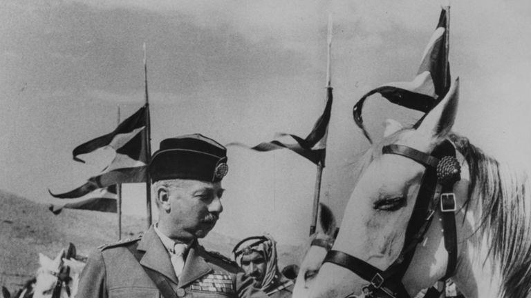 Lieutenant General John Bagot Glubb, or Glubb Pasha,  in Jordan in 1948