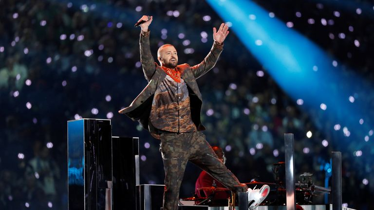 Justin Timberlake performed during the Super Bowl halftime show