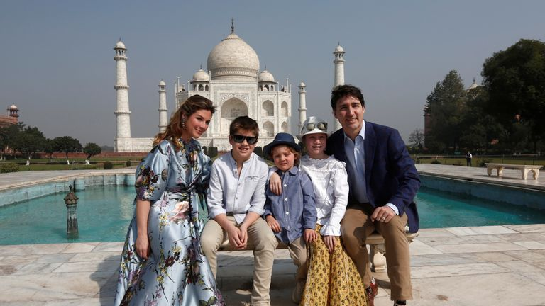 Canadian Prime Minister Justin Trudeau, his wife Sophie Gregoire Trudeau, and their children Ella Grace, Hadrien and Xavier pose in front of the Taj Mahal in Agra, India