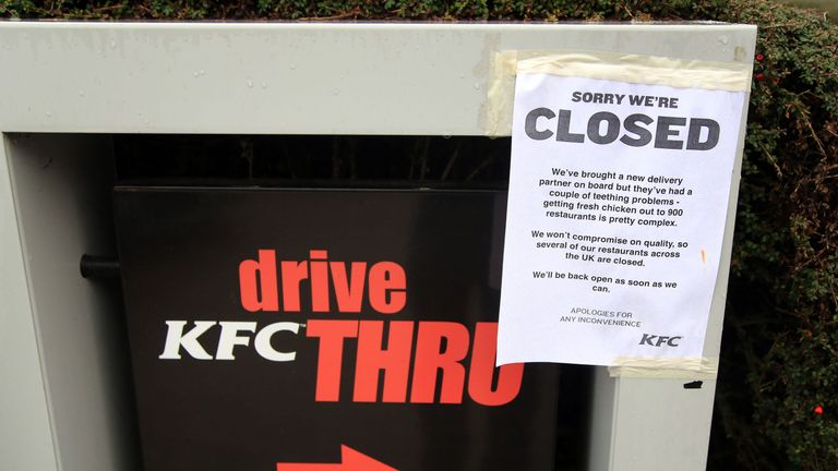 A closed sign outside a KFC restaurant near Ashford, Kent