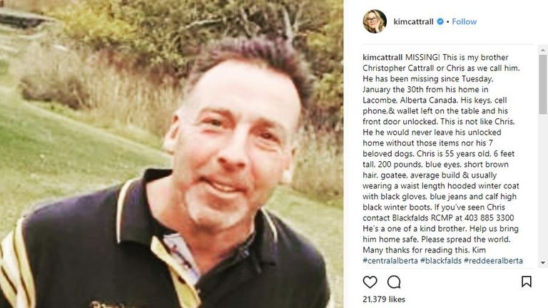 Kim Cattrall's post asking for help over her missing brother