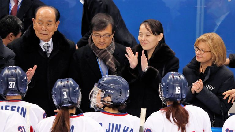 Kim Yo Jong with the Korean women's ice hockey team